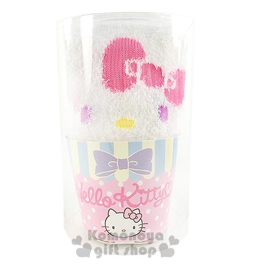 〔小禮堂〕Hello Kitty 成人保暖襪《白.大臉.紫眼睛.杯子蛋糕造型》適穿腳長23-24公分
