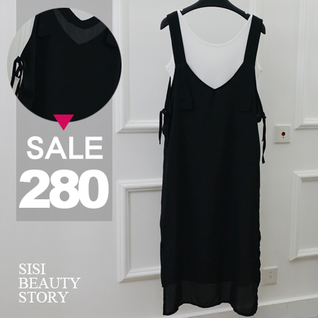 SISI【E6035】韓版休閒百搭兩件式V領無袖背心裙中長款開叉連身裙洋裝