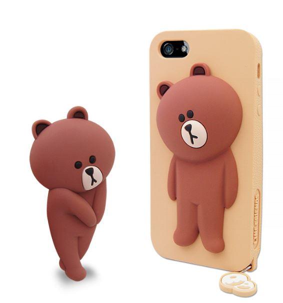 LINE原廠- APPLE iPhone 5/5S 專用BROWN 熊大 矽膠保護殼-棕色