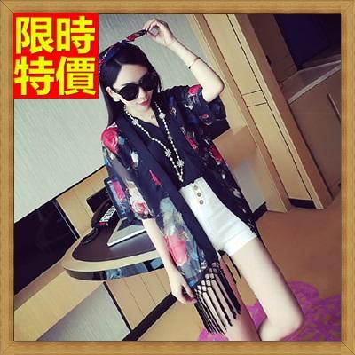 和服外套 和風女罩衫-歐美風玫瑰花流蘇日式防曬小外套3色68af29【日本進口】【米蘭精品】
