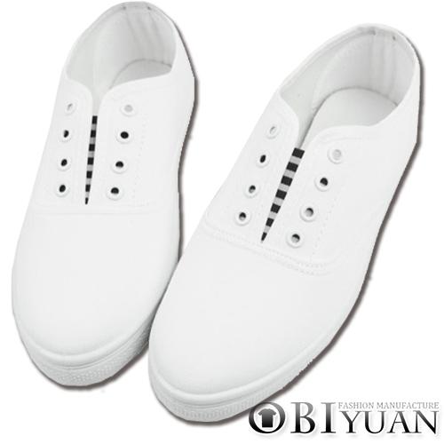 (女鞋)休閒鞋【SG705-1】OBI YUAN日韓百搭款可手繪鞋/綁帶款手工懶人鞋/帆布鞋