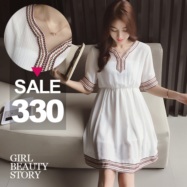 SISI【D6212】韓版寬鬆V領民族風刺繡滾邊高腰修身顯瘦連身裙洋裝