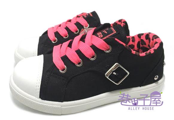 【巷子屋】SPEED史必得 童款彩色豹紋扣環拉鍊款帆布鞋 [6441] 黑桃 MIT台灣製造 超值價$198