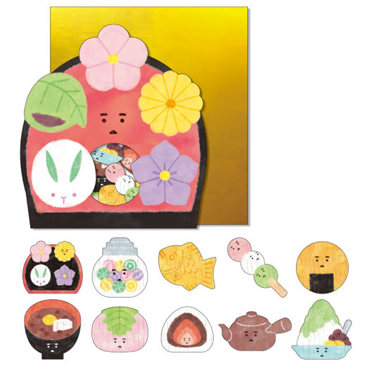 *小徑文化*日本進口 Mind Wave Nippon seal 貼紙包 - 和果子 ( 77853 )