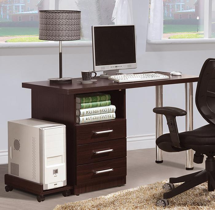 【尚品傢俱】HY-A487-01肯尼胡桃4尺三抽書桌
