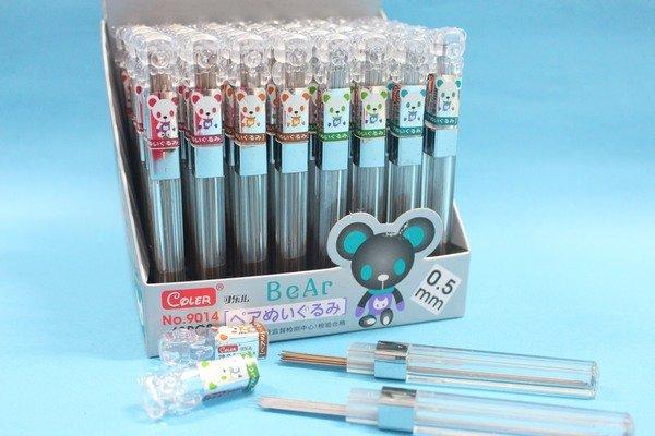 小熊頭鉛筆芯 NO.9014 可樂兒鉛筆芯 0.5mm(透明桿)2B/一小筒入{定10}