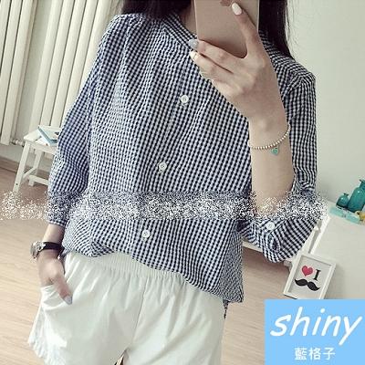 【V0414】shiny藍格子-秋心手札.小清新圓領寬鬆顯瘦格子七分袖襯衫