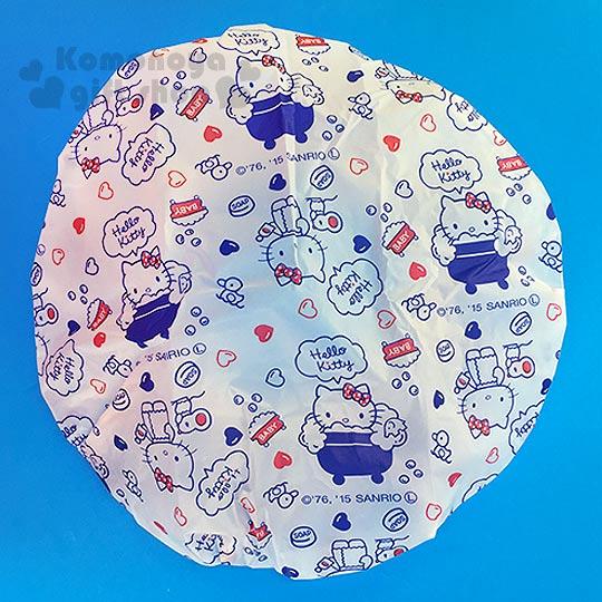 〔小禮堂〕Hello Kitty 浴帽《白.藍浴缸.泡澡.愛心.鴨子.老鼠》
