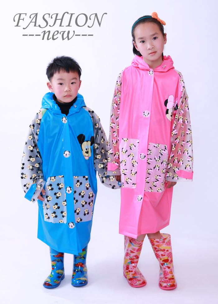 *購GO購*-團購網 外貿 新款迪士尼雨衣 米奇 米妮 充氣帽沿雨衣 有書包位雨衣 兒童雨衣.
