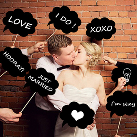創意婚禮派對拍照道具 11件套組 DIY 對話框 面具 新婚 趣味 變裝 party【N201306】