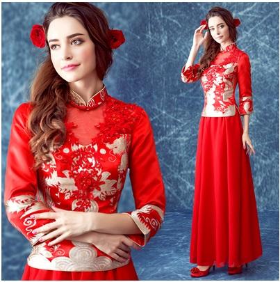 天使嫁衣【AE363】紅色改良式七分袖中式旗袍長禮服˙預購訂製款