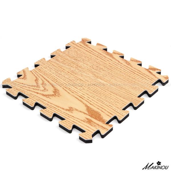 保暖日本MAKINOU 巧拼地墊|日本和風EVA發泡木紋地墊-小-8片-淺色-32*32cm*10mm±1mm|牧野兒童爬行墊 腳踏墊
