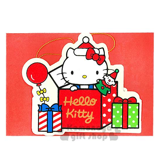 〔小禮堂〕Hello Kitty 造型聖誕卡片《禮物盒.氣球.戴聖誕帽》附信封