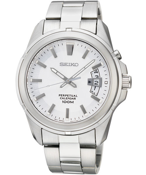 Seiko 6A32-00W0S萬年曆簡約腕錶/白面40mm