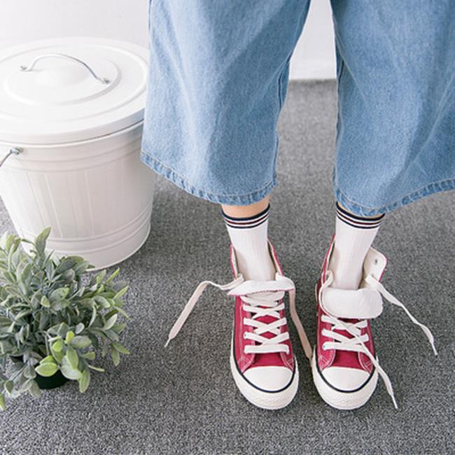 50%OFF【W018394SK】COCOVANILLA新品精梳棉小清新豎條紋撞色女棉襪 時尚中筒襪子批發