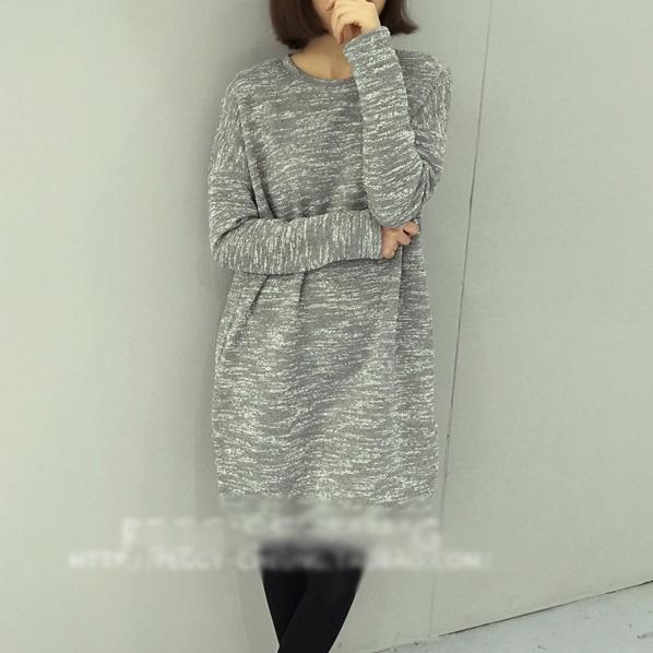 PS Mall 針織厚實寬鬆雜色開叉中長款打底連身裙 洋裝【T2588】