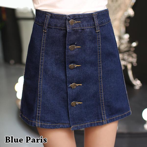 牛仔裙 - 高腰牛仔五釦短裙【23297】藍色巴黎 《M~XL》現貨+預購