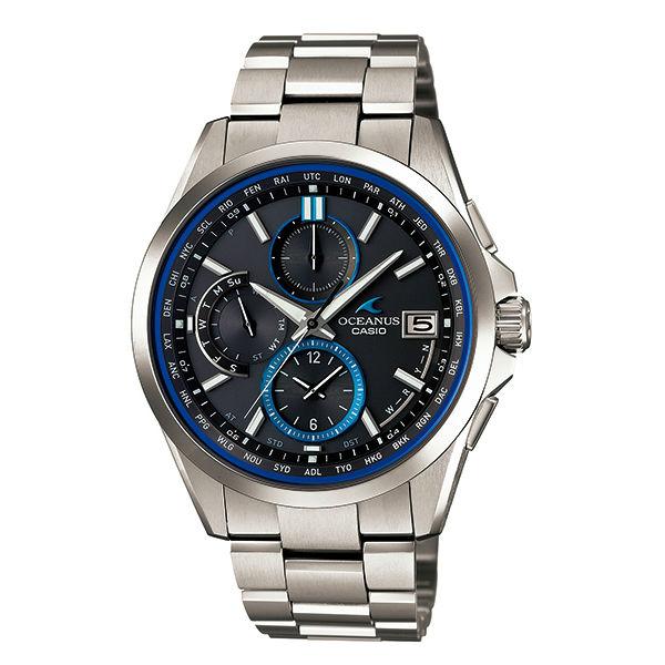 CASIO  OCEANUS OCW-T2600-1A熱銷黑金雙顯流行腕錶/白面43mm