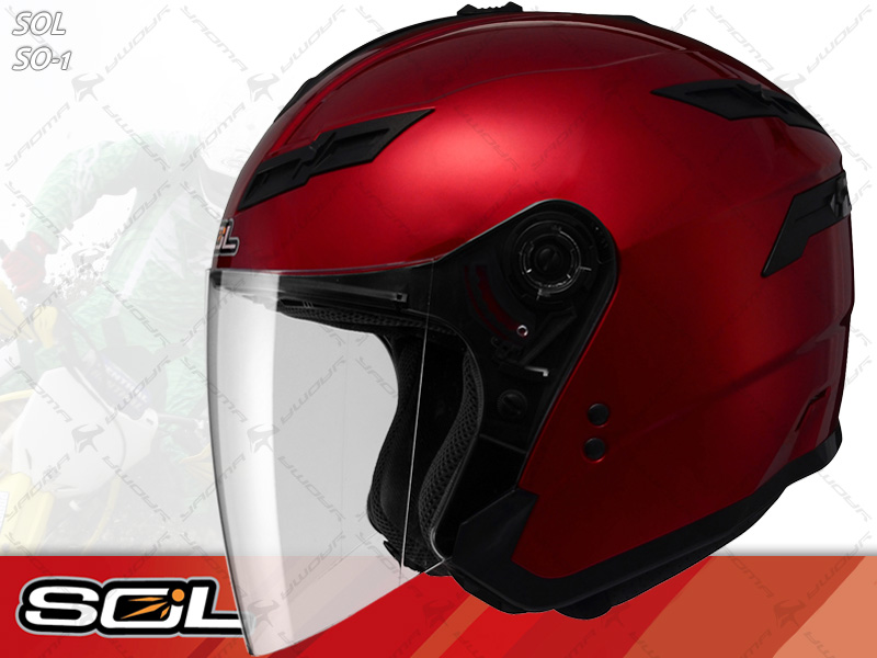 SOL安全帽|SO-1 / SO1 素色 酒紅 【內置墨片.LED燈】 半罩帽 『耀瑪騎士生活機車部品』
