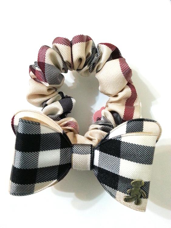 【SiSi 時尚派對】韓國進口專櫃款經典格紋可愛蝴蝶結小熊 髮束 髪飾