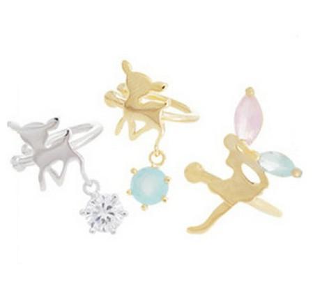 【SiSi 時尚派對】韓版無耳洞U型耳夾 女 小鹿斑比天使精靈耳骨環