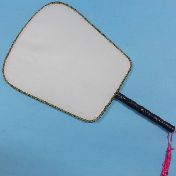 大方型空白扇子 木柄白布面宮廷扇子+琉疏 彩繪扇子/一支入{定30}空白絹扇 團扇 圓扇子