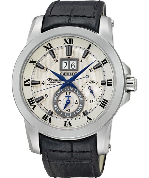 Seiko Premier 7D56-0AB0A(SNP115J1)人動電能萬年曆大視窗日期腕錶/灰面41mm