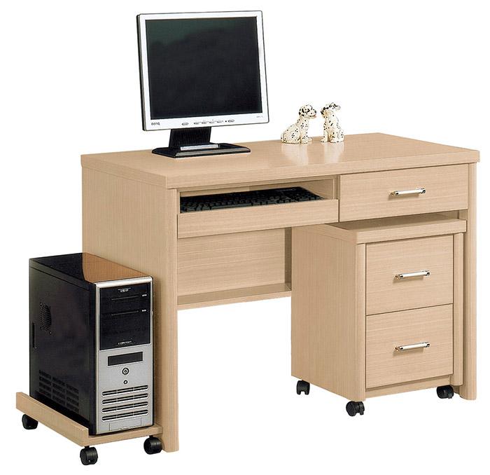 【尚品傢俱】HY-A492-09 維得白橡3.5尺電腦桌組(含活動櫃+主機架)