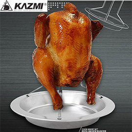 【【蘋果戶外】】KAZMI K3T3K043 露營專用烤雞架 不鏽鋼/露營/料理工具/燒烤/烤肉/附收納袋