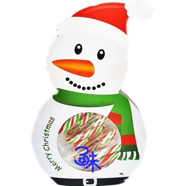 (馬來西亞)聖誕雪人拐杖糖盒 (小雪人盒裝小拐杖糖)1盒50公克 特價60元 【4712893945400 】(聖誕節造型糖 聖誕拐杖糖 聖誕節禮物)