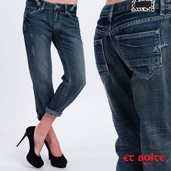 【ET BOiTE 箱子】輕柔男友八分牛仔褲