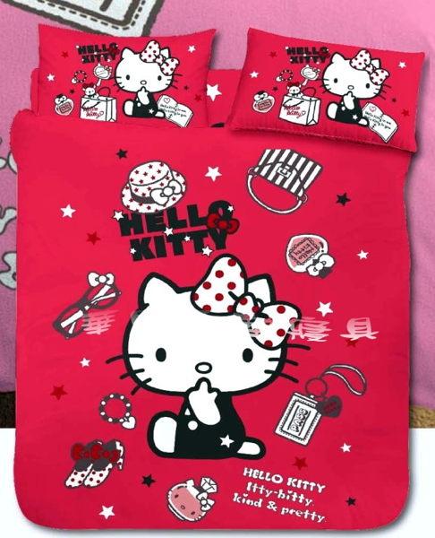 *華閣床墊寢具暢貨批發中心*《Hello Kitty.時尚寶盒-紅》單人床包組【床包+枕套*1】台灣三麗鷗授權 MIT