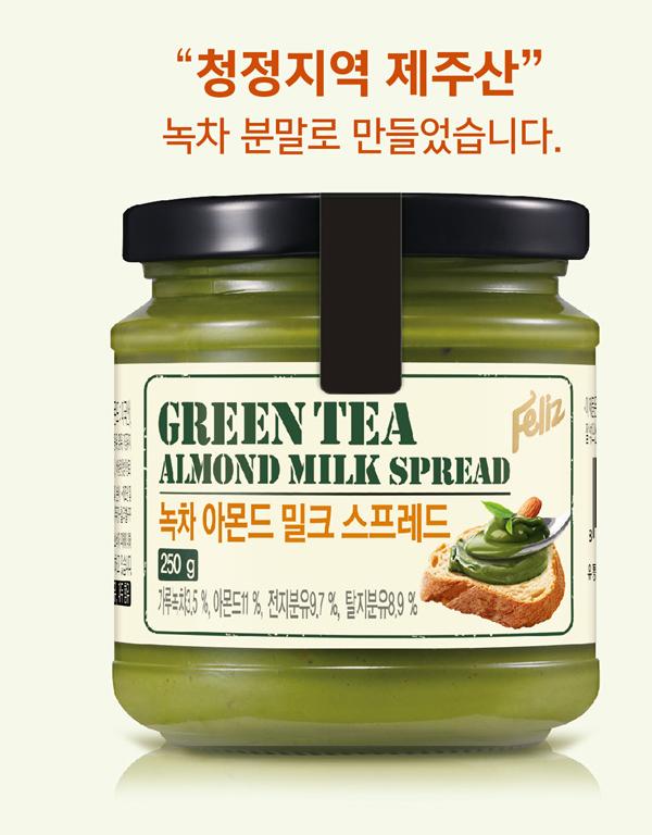 有樂町進口食品 韓國Feliz菲立士_杏仁粒抹茶牛奶醬250g 8809214408075