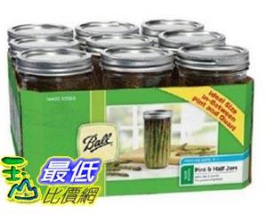 [美國直購] Ball 梅森 Jar GL56748120X9 寬口徑 9入裝 Wide Mouth Pint and Half Jars with Lids and Bands 玻璃罐 玻璃瓶 收納罐