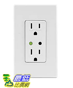 [美國直購] Leviton DZR15-1BZ Decora Z-Wave Controls 15-Amp Tamper Resistant Split Duplex Receptacle, White/Ivory/Light Almond, Works with Amazon Alexa