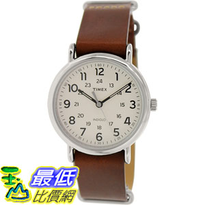[105美國直購] Timex Men's 男士手錶 Weekender T2P495 Brown Leather Analog Quartz Watch