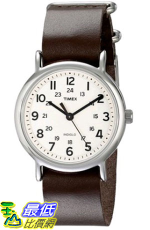 [105美國直購] Timex Unisex T2N893 Weekender Silver-Tone Watch with Leather Band