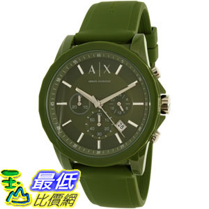 [105美國直購] Armani Exchange Men's 男士手錶 Outerbanks AX1329 Green Silicone Quartz Watch