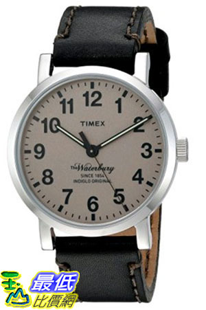 [105美國直購]  Timex Mens The Waterbury Quartz Stainless Steel and Leather Dress Watch, Color:Black (Model: TW2P58800ZA)