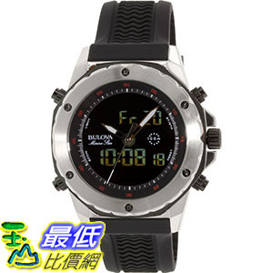 [105美國直購] Bulova Men's 男士手錶 Marine Star 98C119 Black Rubber Analog Quartz Watch