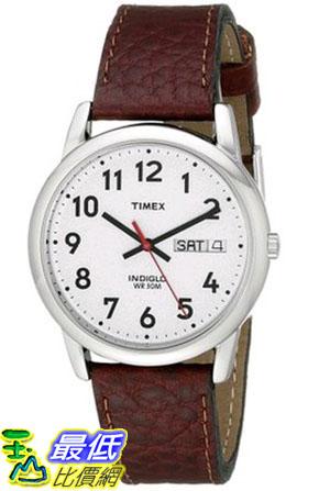 [105美國直購] Timex Easy Reader Day-Date Leather Strap Watch