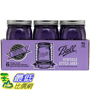 [美國直購] Ball 1440069009 梅森 紫色 WM Quart 寬口徑6入 Jars with Lids and Bands 玻璃罐 玻璃瓶 收納罐