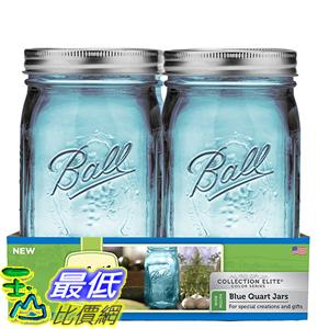 [美國直購] Ball 1440069024 梅森 藍色 WM Quart 寬口徑4入 Elite Collection Quart Jars 玻璃罐 玻璃瓶 收納罐