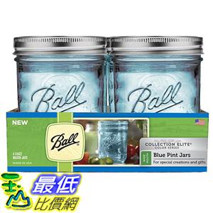 [美國直購] Ball 1440069023 梅森 藍色  WM Pint 寬口徑4入 Elite Collection Quart Jars 玻璃罐 玻璃瓶 收納罐