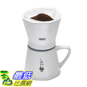 [美國直購] Bialetti 6750 2 Cup Porcelain Pourover Coffee Dripper with Mug, White 滴漏式 咖啡濾杯