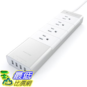 [美國直購] Satechi 延長線 充電器 充電座 Aluminum 4-Outlet Home/Office Power Strip with 4.5 ft. cord and 4 USB Charging Ports