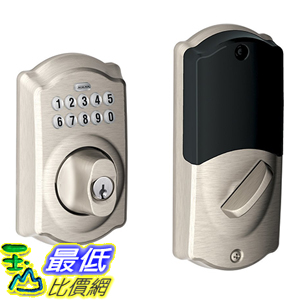 [美國代購] Schlage BE369NX Camelot 619 Home Keypad Deadbolt with Z-Wave Technology, Satin Nickel 鍵盤 門鎖
