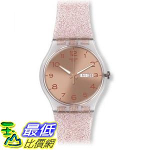 [美國直購] Swatch Unisex SUOK703 Pink Glistar Watch with Sparkling Band 手錶