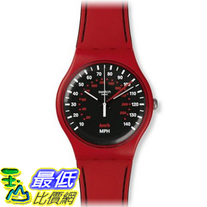[美國直購] Swatch SUOR104 Red Brake Black White Dial Silicone Rubber Band Unisex Watch NEW 手錶