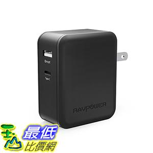[美國直購] RAVPower RP-PC017K 充電插座 36W Dual USB Wall Charger with USB-C for MacBook, Dell XPS 13, Note 7